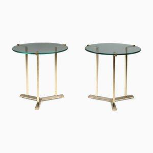 Tables d'Appoint Vintage en Laiton de Peter Ghyczy, 1980s, Set de 2