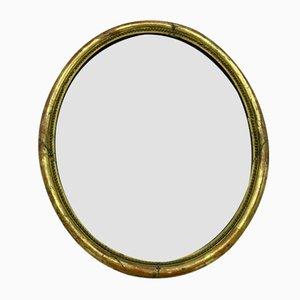 Antiker Ovaler Spiegel mit Holzrahmen und Altem Glas
