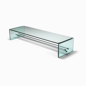 Large Vintage Glass Coffee Table by Fontana Arte, 1970s