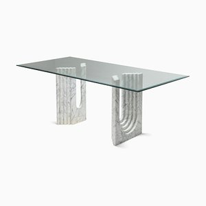 Vintage White Carrara Marble Dining Table in the Style of Carlo Scarpa, 1970s