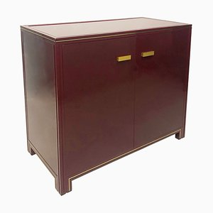 Burgundy Acrylic and Glass Storage Cabinet by Pierre Vandel, 1970s