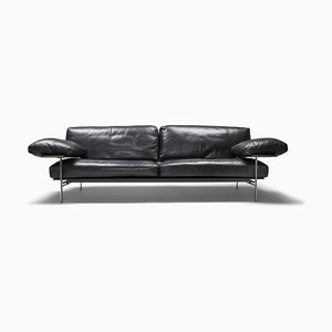 Vintage Black Leather Sofa by Antonio Citterio for B&B Italia / C&B Italia, 1980s