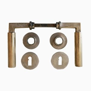 Bauhaus Bronze Door Handles by Walter Gropius & Adolf Meyer for Wehag, Die Wilhelm Engstfeld AG, 1930s, Set of 9