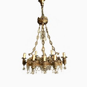 Crystal Beaded Crown Chandelier with Murano Drops, 1940s