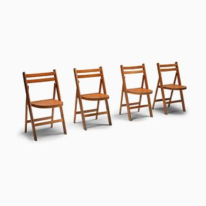 Mid-Century Stacking Wooden Folding Chair, 1950s
