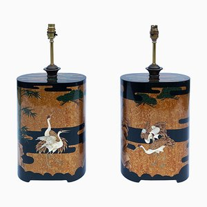 Hollywood Regency Lacquered Wood Table Lamps, 1990s, Set of 2
