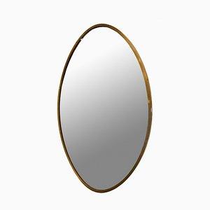 Mid-Century Italian Oval Brass Mirror