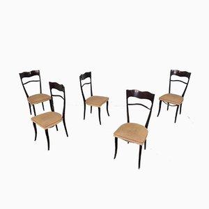 Chaises de Salon Vintage en Bois par Paolo Buffa, 1950s, Set de 5