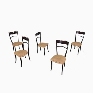 Vintage Wooden Dining Chairs by Paolo Buffa, 1950s, Set of 5