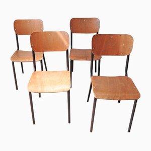 Chaises d'École Vintage en Bois et en Tubes Noirs, Set de 4