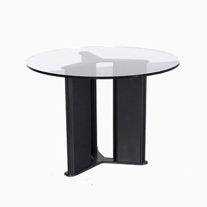 Korium Leather and Glass Dining Table by Tito Agnoli for Matteo Grassi