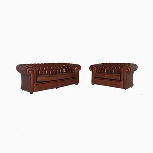 Red Brown Leather Sofas from Chesterfield, Set of 2
