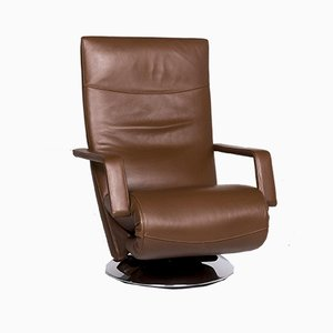 Evolo Brown Leather Armchair with Relax Function from FSM