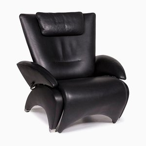 Black Leather Armchair with Relax Function from de Sede