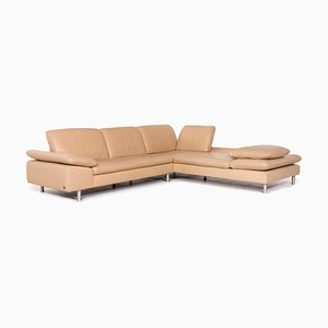 Loop Leather Corner Sofa in Beige with Function from Willi Schillig