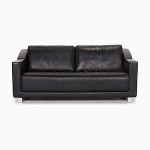 350 Black Leather 2-Seat Sofa from Rolf Benz