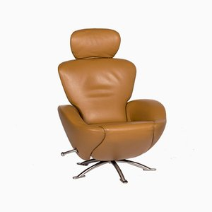 Dodo Cognac Brown Leather Armchair with Relax Function from Cassina