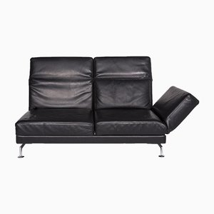 Moule Black Leather 2-Seat Sofa with Relax Function by Roland Meyer-Brühl for Brühl & Sippold
