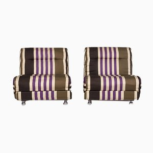 Striped Beige Fabric Armchairs Set from Cor, Set of 2