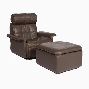 Brown Leather Armchairs Set from de Sede, Set of 2