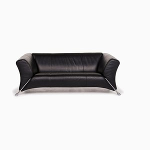 322 Black Leather 2-Seat Sofa from Rolf Benz