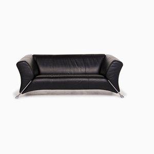 Schwarzes 322 Leder 2-Sitzer Sofa von Rolf Benz