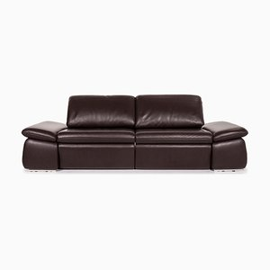 Dark Brown Leather 2-Seat Sofa with Electric Relax Function from Koinor