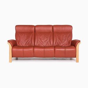 Windsor Rotes 3-Sitzer Ledersofa von Himolla