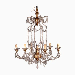 Antique 6-Arm Iron and Glass Chandelier
