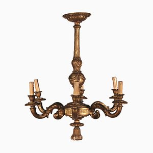 Vintage Italian Glided Wood Chandelier