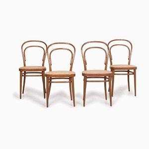 214 Braune Holz Armlehnstühle von Gebrüder Thonet für Thonet, 4er Set