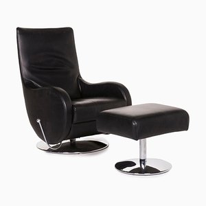 Black Leather Armchair & Stool with Relax Function from Koinor, Set of 2
