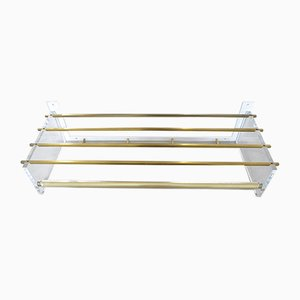 Wall Coat Rack Acrylic Glass and Brass, 1960s