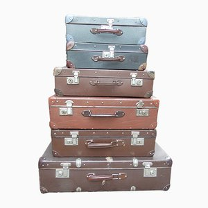 Mid-Century Suitcases, Set of 6