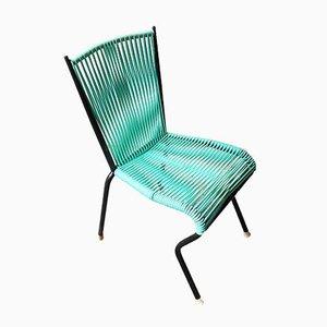 Chaise de Salon Vintage avec Sangles Vertes en PVC et Structure Tubulaire en Métal Noir