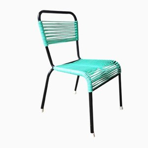 Vintage Aquamarine Green PVC Laces and Black Tubular Metal Childrens Chair, 1970s