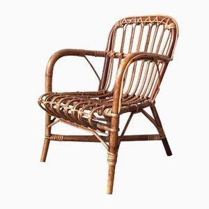 Chaise pour Bébé Mid-Century en Rotin et Bambou, 1950s