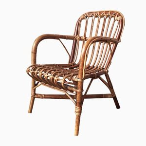 Mid-Century Rattan and Bamboo Baby Chair, 1950s