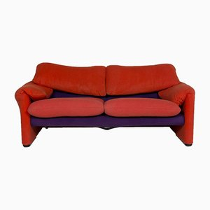 2-Sitziges maralunga Funktions Sofa in Rot & Lila von Cassina