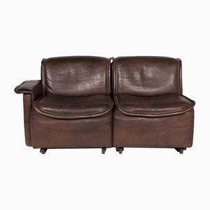 DS 12 Brown Leather Sofa from de Sede