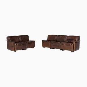 DS 12 Brown Leather Sofa Set from de Sede, Set of 2