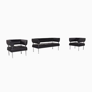 Black Leather Sofa & Armchair Set from Sitland, Set of 3