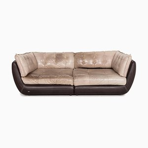 Cupcake Jepard Beige Brown Leather 4-Seat Sofa by Carolin Fieber for Bretz