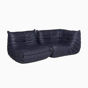 Togo Blue Leather 3-Seat Sofa with Function by Michel Ducaroy for Ligne Roset