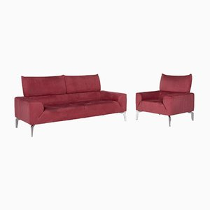 Pink Fabric 2-Seat Sofa and Armchair Set from Laauser, Set of 2