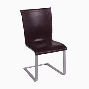 Chaises en Cuir Vin Rouge de Ronald Schmitt, Set de 6