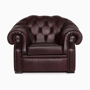 Brown and Purple Leather Armchair from Chesterfield