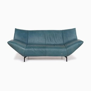Turquoise Blue Green Leather 2-Seat Sofa from Koinor