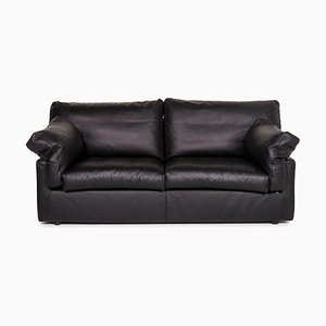 Black Leather 2-Seat Sofa from WOH