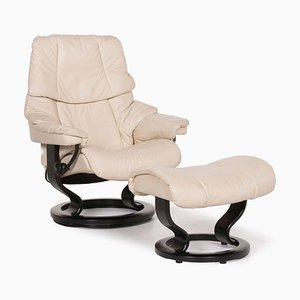 Reno Cream Leather Armchair & Stool from Stressless